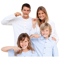 the smile doctor family brushing teeth