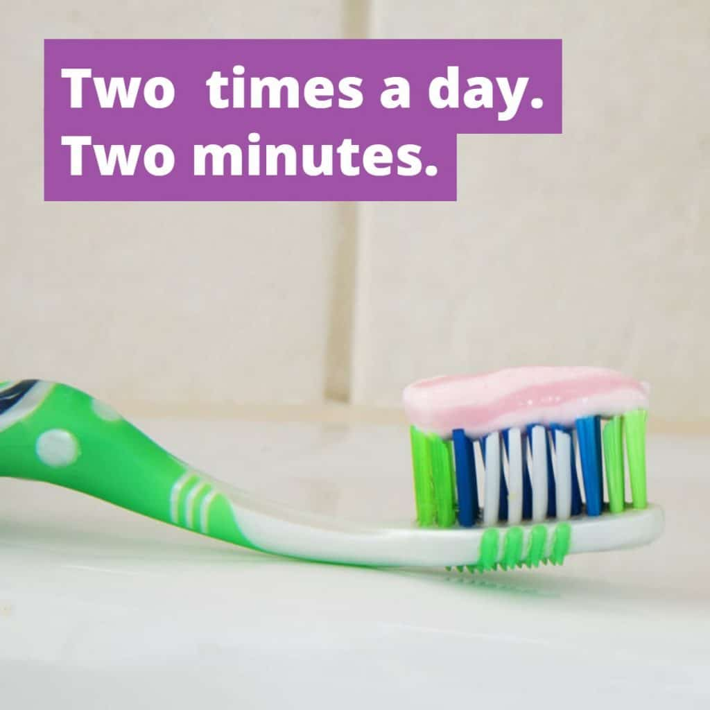 the smile doctor brush two times a day for two minutes
